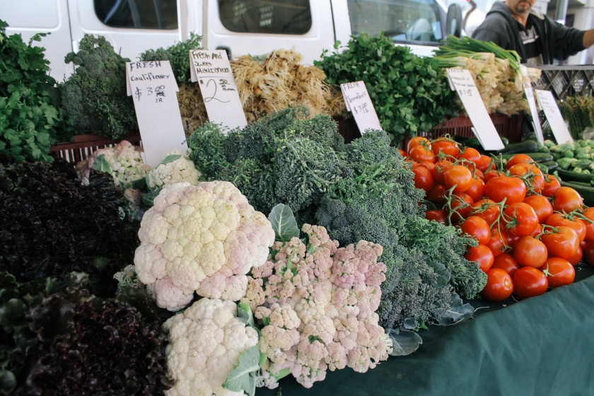 fresh vegetables on display