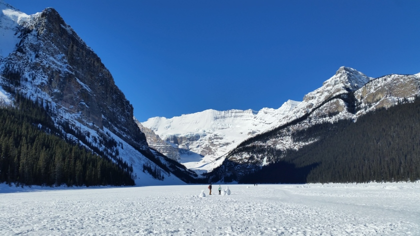 a frozen Lake Louise in Banff National Park