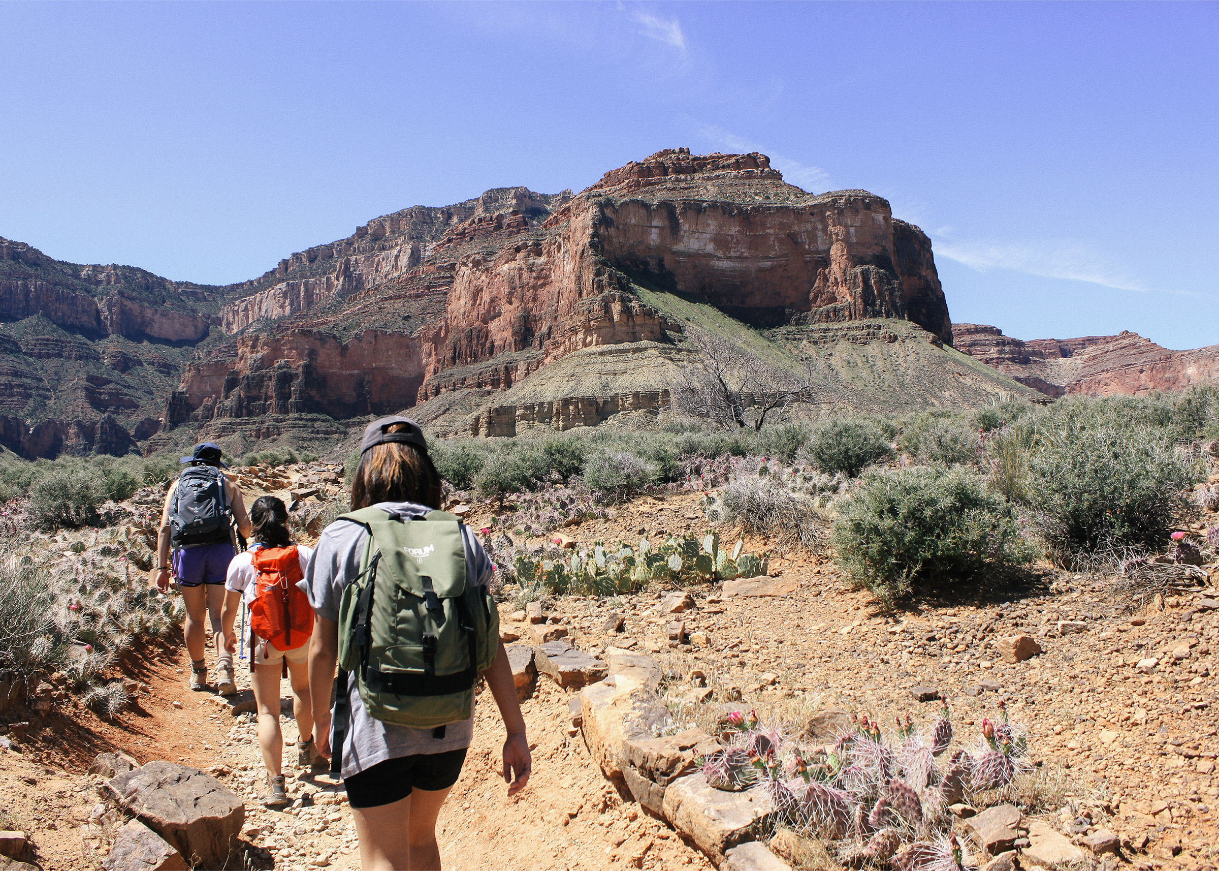 Three women hiking on the Bright Angel Trail