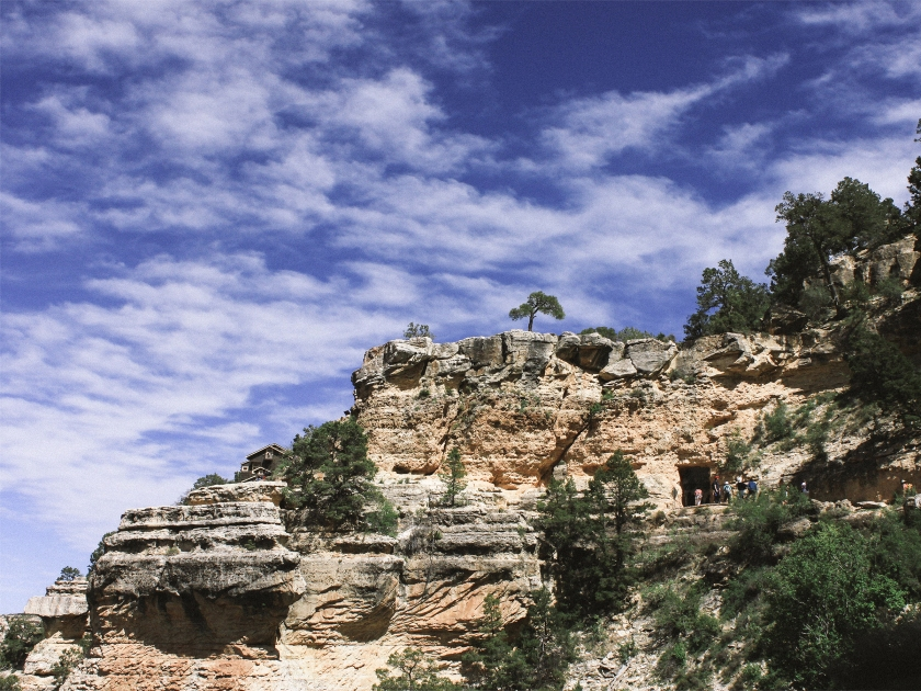 View of a geological formation on the Bright Angel Trail