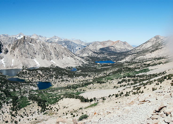 Overlooking lakes in Sequoia National Park on Kearsarge Pass