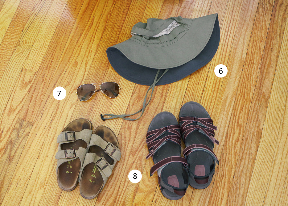 summer essentials include sandals, wide brimmed hate, and sunglasses