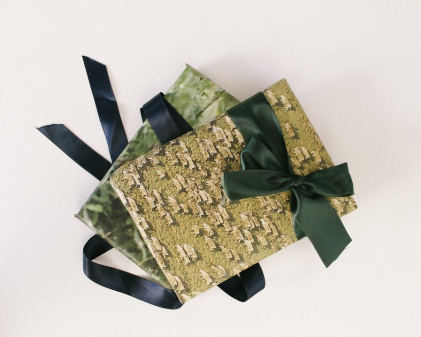 gifts wrapped in reusable paper wrapping