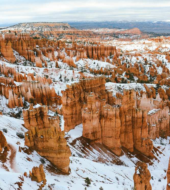 Snow-covered Hoodoos in Bryce Canyon National Park