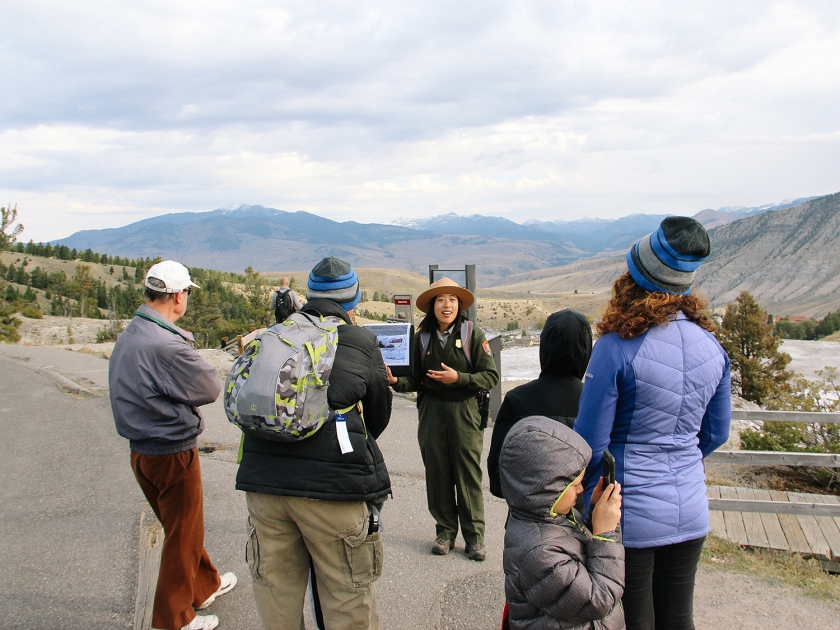 Teaching a program at the Mammoth Hot Springs