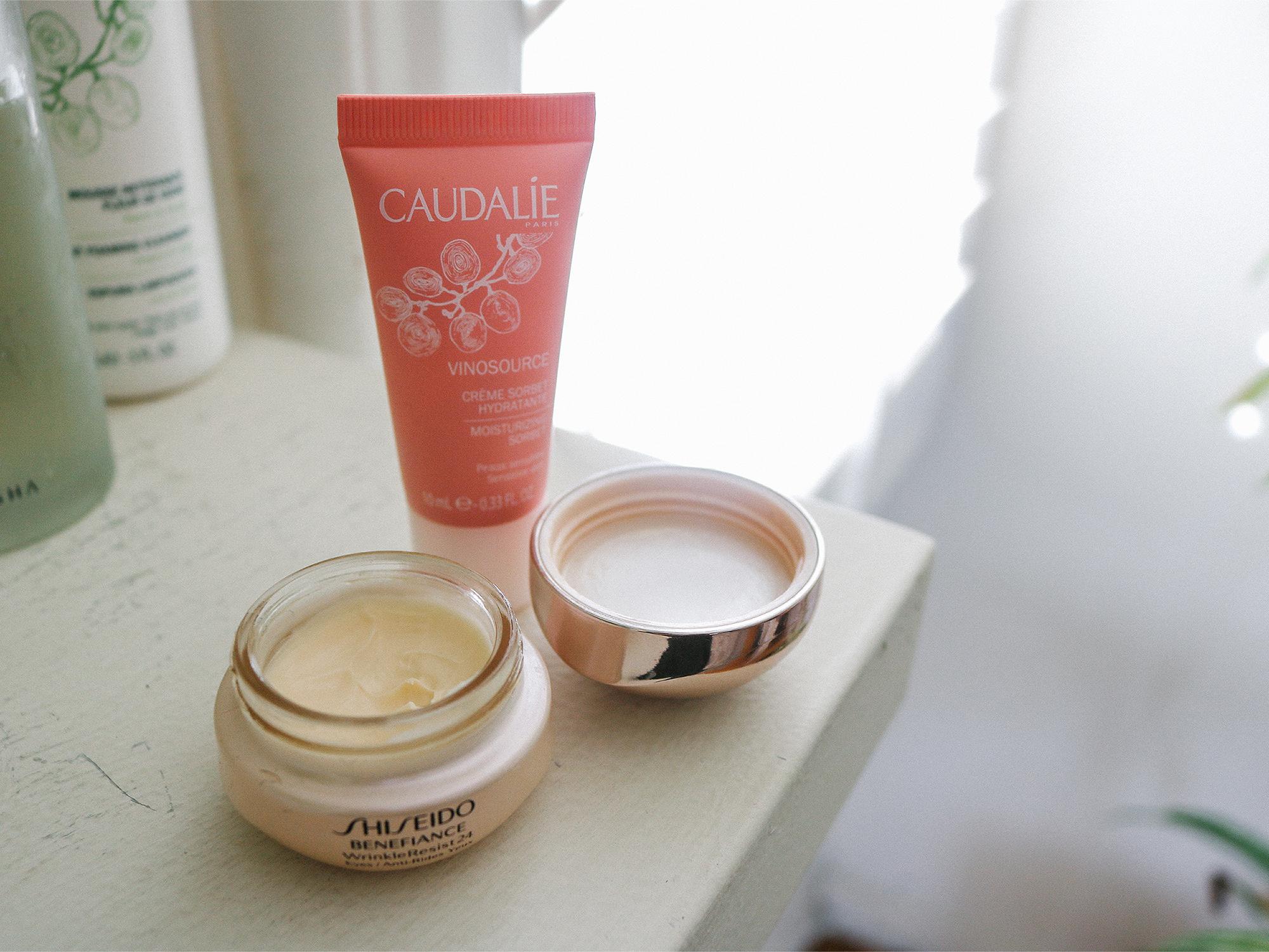 Caudalie Moisturizing Sorbet and Shiseido Benefiance Eye Cream