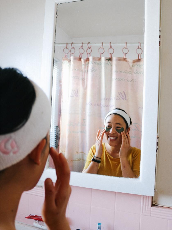 Vivian wearing eye masks
