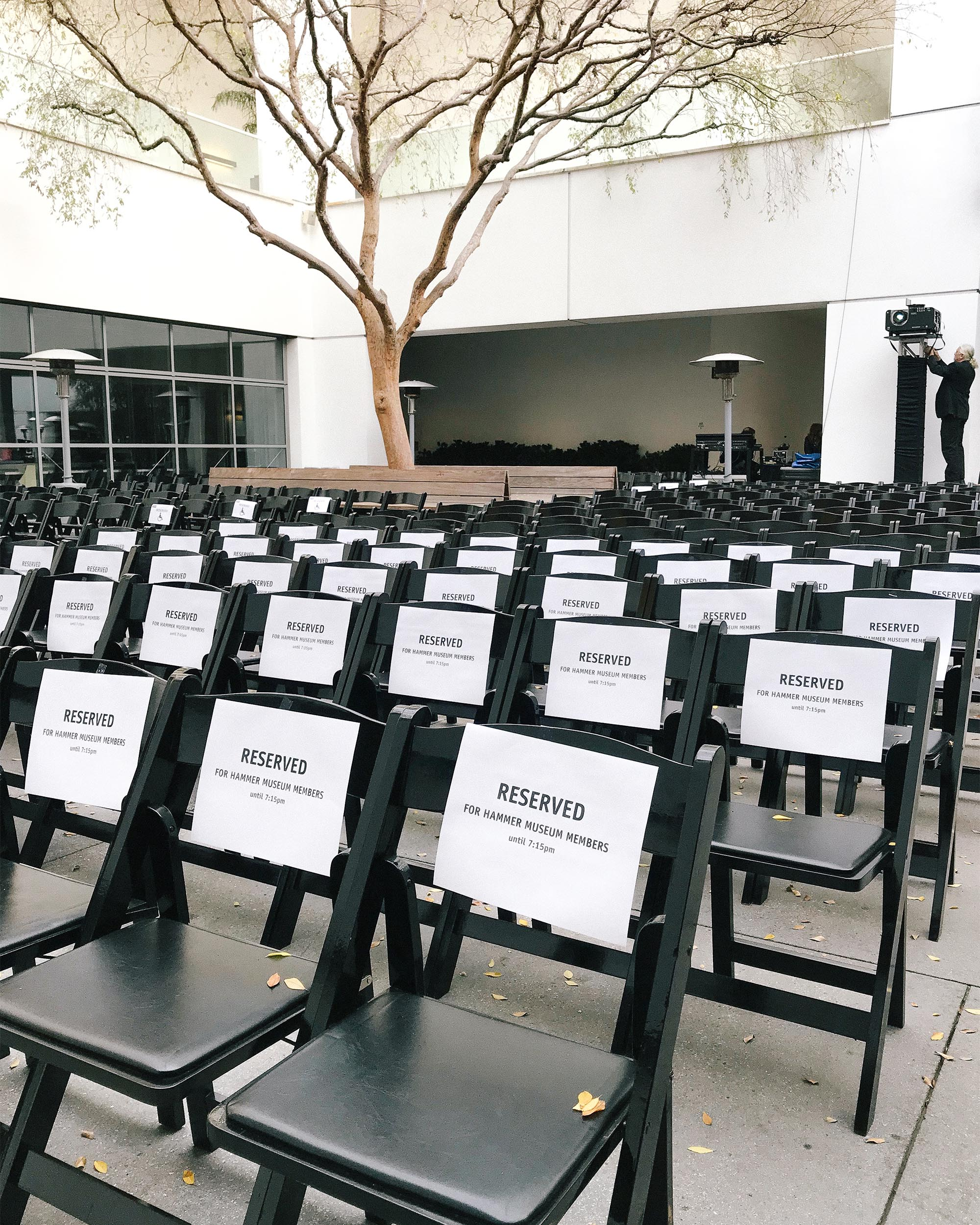 Hammer Museum Courtyard with reserved seating