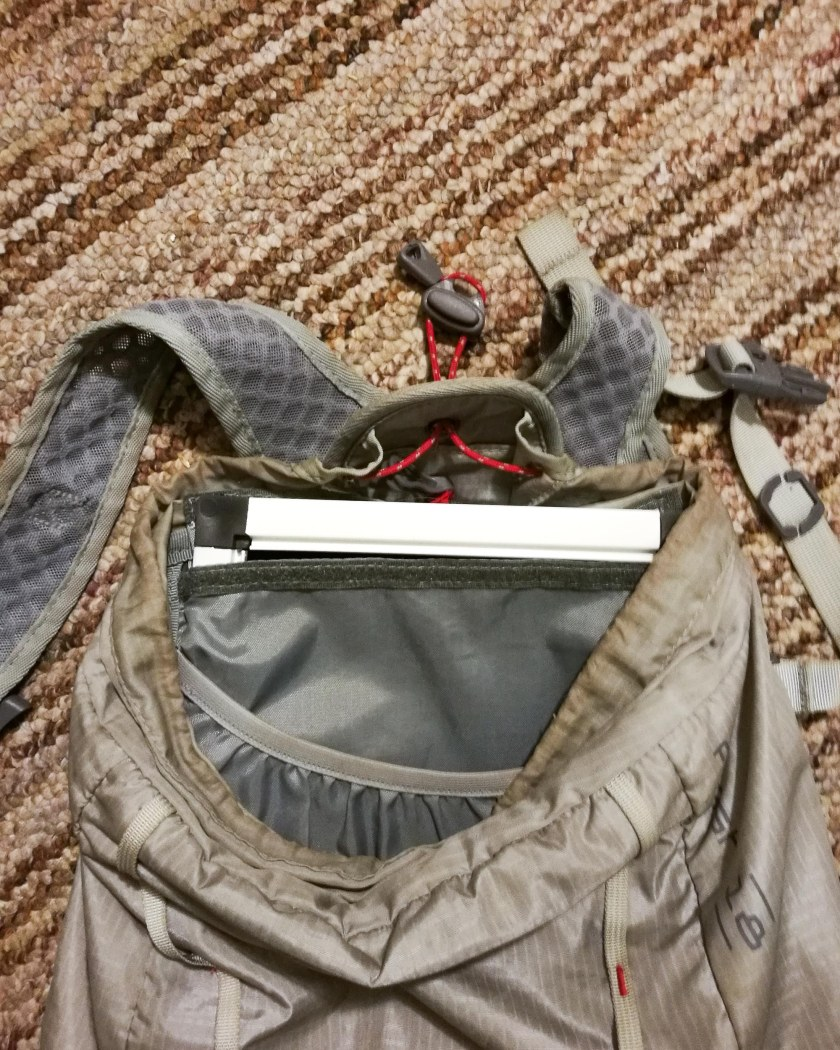 Photo of the frame inside the padded pouch of the REI 18L Flash Pack