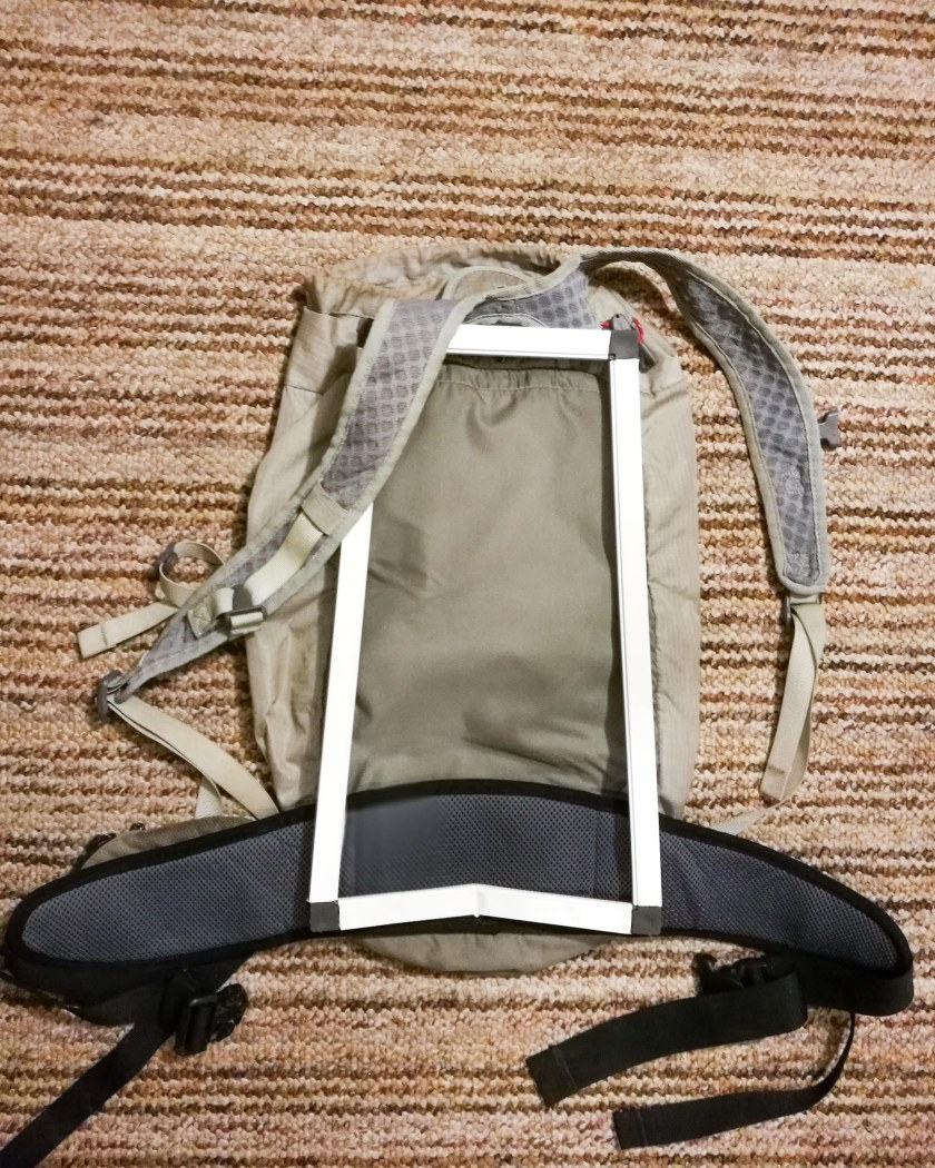 The backside of the REI 18L Flash Pack with frame and hip belt