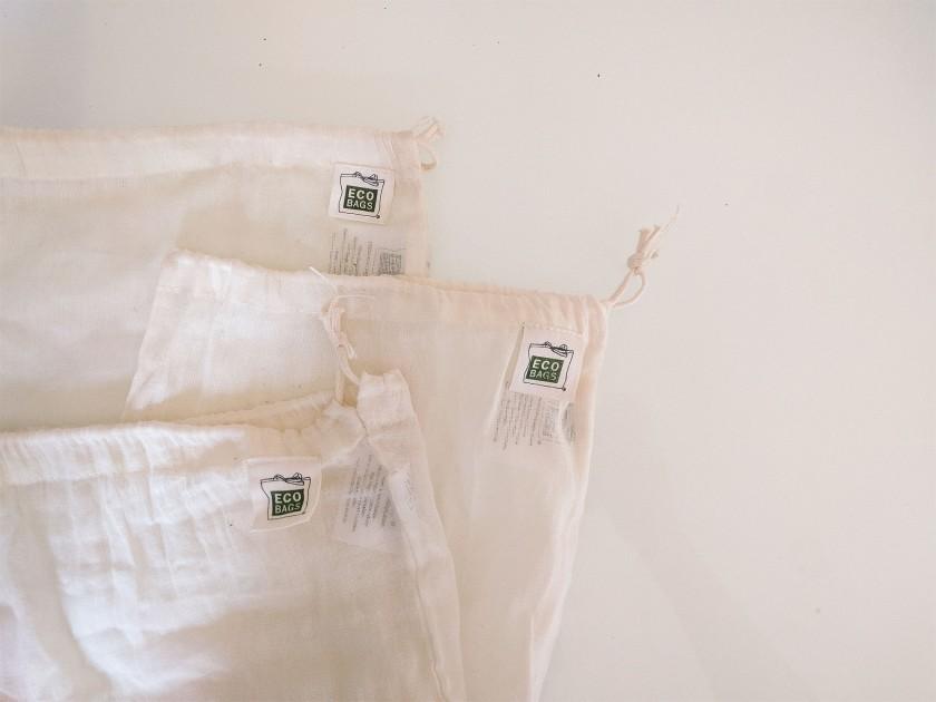 Cotton drawstring reusable produce bags