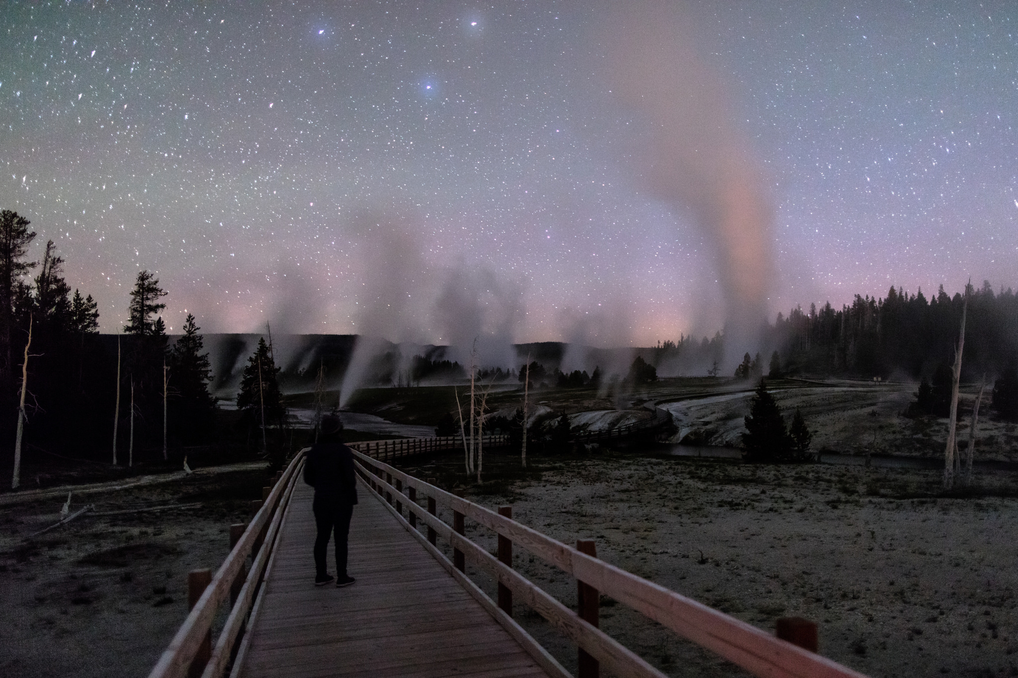 Exploring the boardwalks at night carrying bear spray; photo by Jacob W. Frank