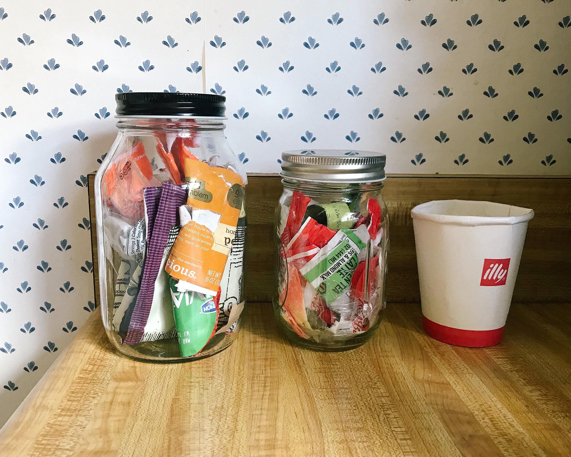trash in mason jars day 13