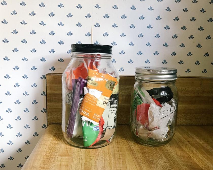 trash in mason jars