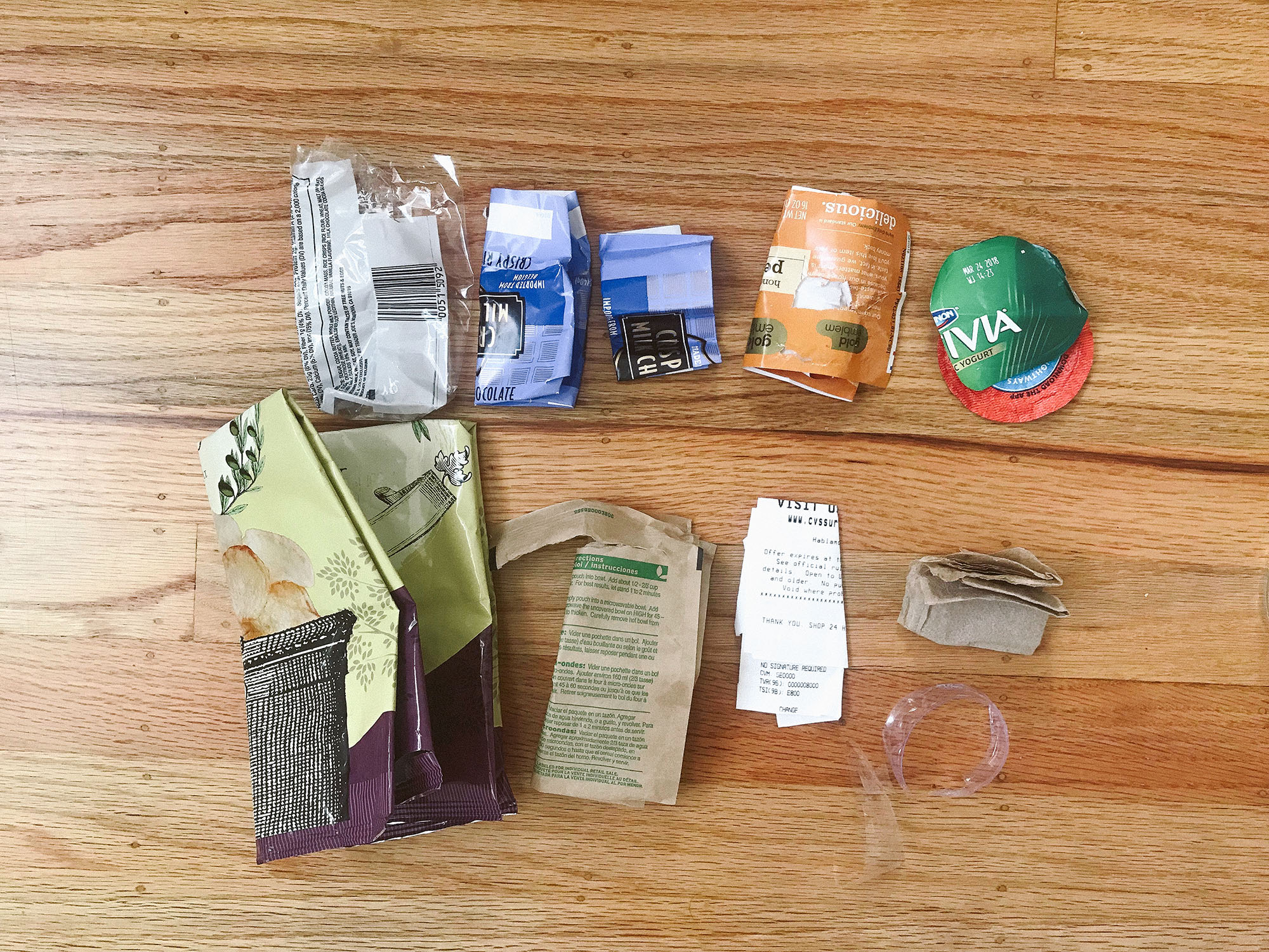 waste in a 32 oz jar laid out