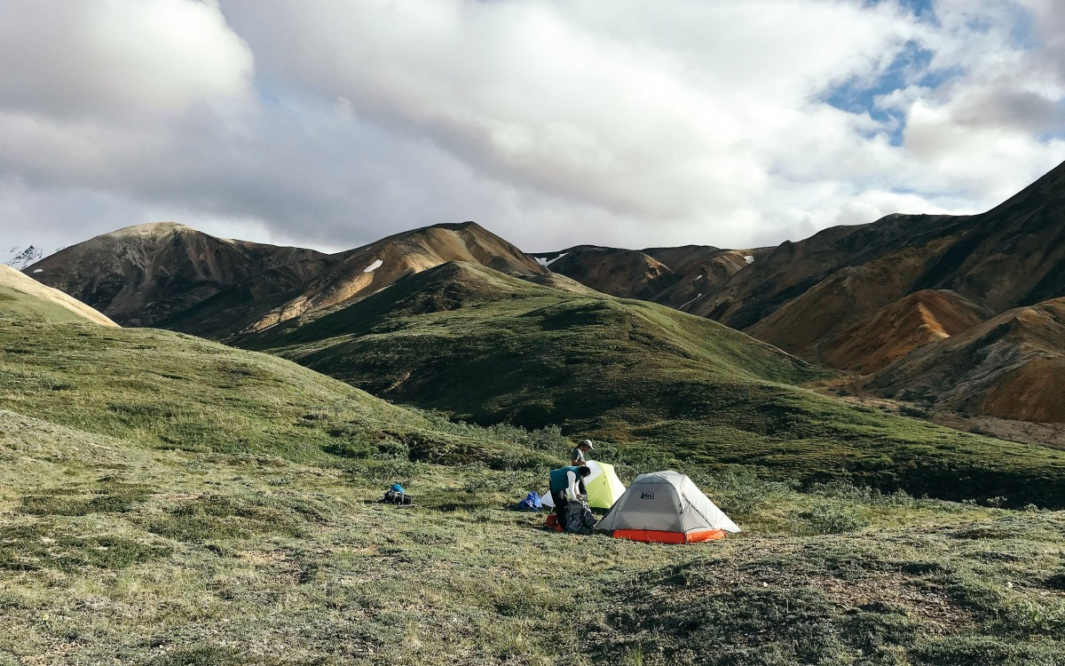 setting up camp in Denali, Alaska