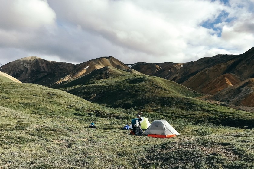 setting up camp in Denali, Alaska